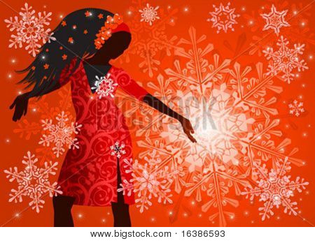 hot girl on red background & snowflakes