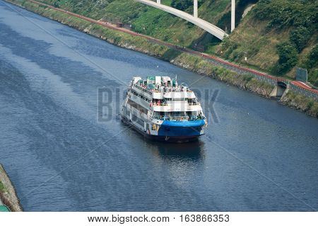 Incheon Korea - July 21 2016: Cruise ship on Gyeongin Ara Waterway which is a canal between Gimpo and Incheon. It was built in 2012 for the purpose of flood control and leisure pursuits.