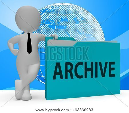 Archive Folder Representing Files Collection 3D Rendering