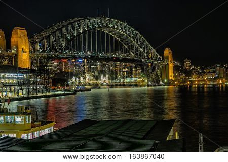 Circular Quay Sydney Australia at night.JAN 04,2017 Circular Quay area is a popular neighborhood for tourism and consists of walk ways,pedestrian park,Sydney Opera House and Sydney Harbour Bridge.