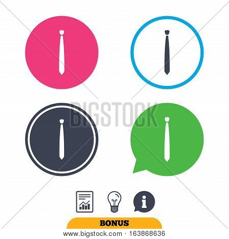 Tie slim sign icon. Business clothes symbol. Report document, information sign and light bulb icons. Vector