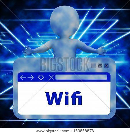 Wifi Webpage Showing Wireless Internet 3D Rendering