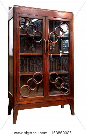 Antique asian style wooden cabinet from thailand isolated on white background.