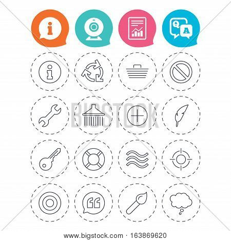 Universal icons. Information, shopping basket and shower. Repair tool, home key and brush. Comic speech bubble, target aim and quotes. Information, question and answer icons. Web camera, report signs