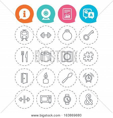 Universal icons. Fitness dumbbell, home key and candle. Toilet paper, knife and fork. Microwave oven. Information, question and answer icons. Web camera, report signs. Vector