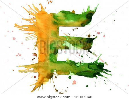 watercolor paint - letter E