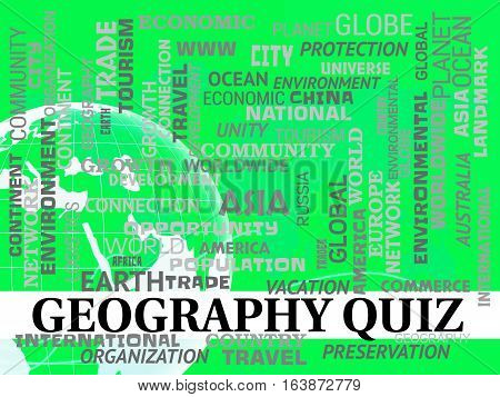 Geography Quiz Shows Planet Questions Or Test