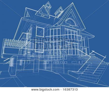 house blueprint: 3d technical draw