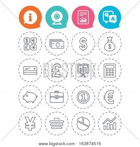 Money and business icons. Cash and cashless money. Usd, eur, gbp and jpy currency exchange. Presentation, calculator and shopping cart symbols. Information, question and answer icons. Vector