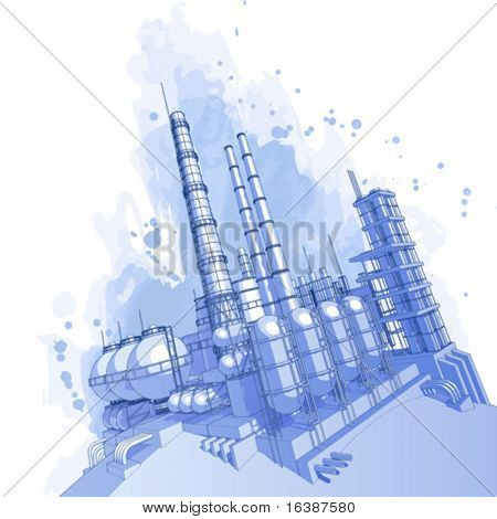 Chemical plant & watercolor background