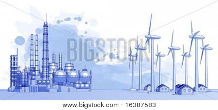 Industry concept: abstract plant with smokey sky, wind-driven generators & houses with solar power systems