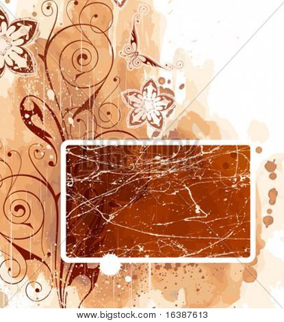 frame, floral ornament & watercolor background Elements on separate layers