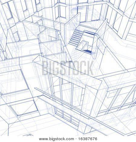 Casa de modelo 3D: empate técnico vector
