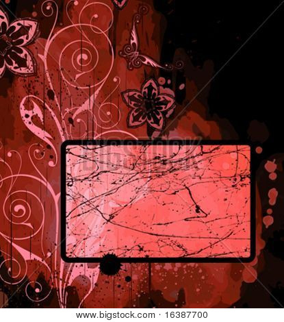 Frame, floral ornament & watercolor background. Elements on separate layers