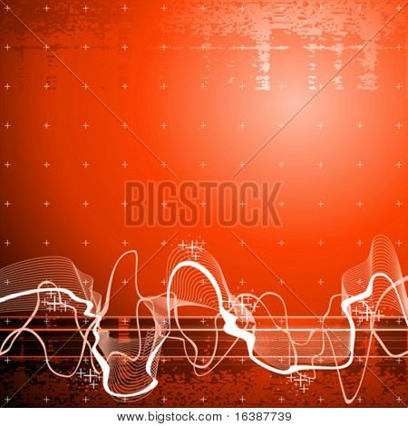 Sound wave, red technology background