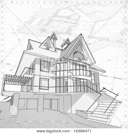 3d House: Vector Technical Draw Poster