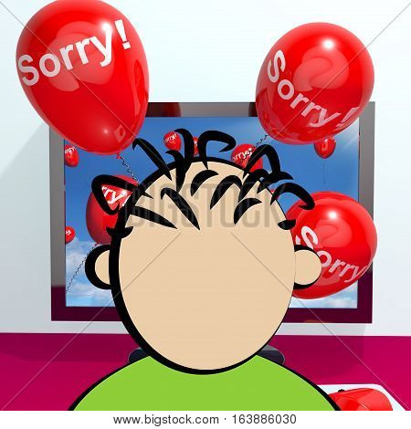 Sorry Balloons From Computer Showing Apology 3D Rendering