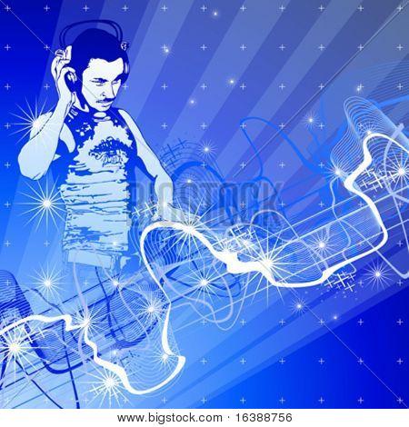 DJ, blaue Technologie Hintergrund & Schallwelle