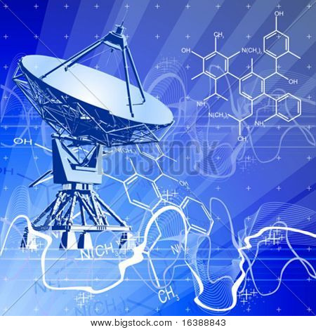 satellite dishes antenna (doppler radar), digital wave chemical formulas & blue technology background