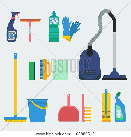 Household supplies and cleaning equipment. Flat design for web sites infographics and printed materials.