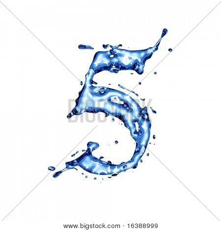 The blue liquid water alphabet with splashes and drops - figure 5