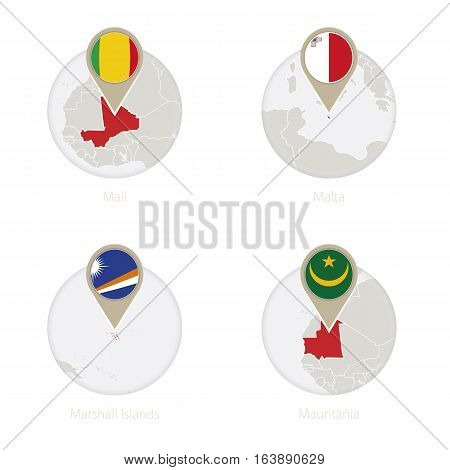 Mali, Malta, Marshall Islands, Mauritania Map And Flag In Circle.