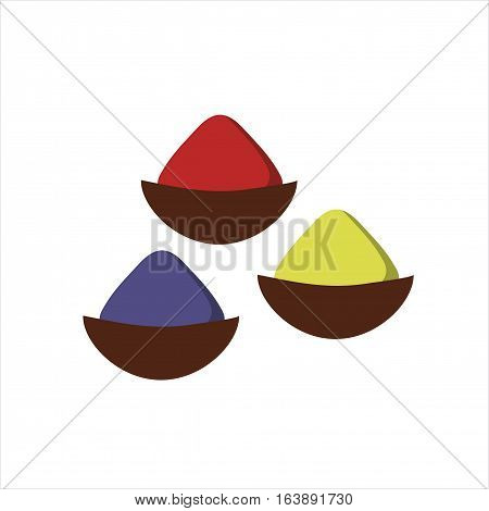 Indian seasoning spices in little stainless wooden bowls vector. Thai dried herbs and cuisine ingredient. Powder chili herb condiment coriander cooking.