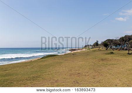 Grass Verge And Empty Beach Against Blue Ocean Skyline