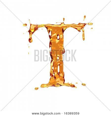 Liquid alcohol alphabet  - letter T - color of brandy , cognac, liquor, cola, beer or tea