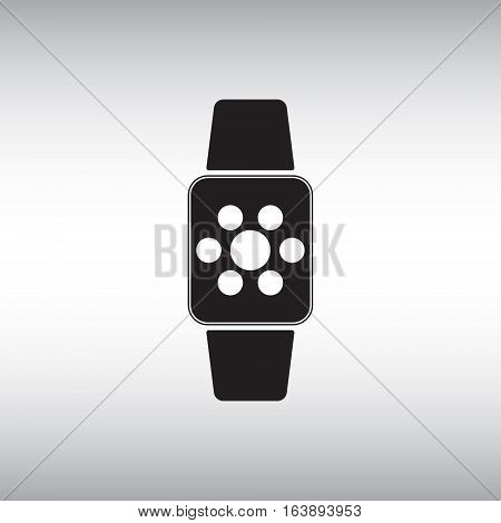 Smart watch flat vector icon. Isolated smart watch vector sign. Illustration of applications menu at smart watch screen.