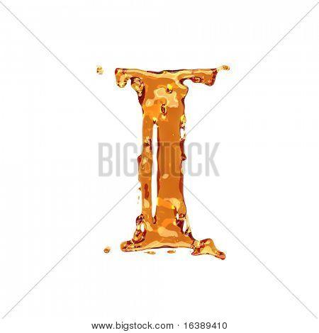 Liquid alcohol alphabet  - letter I - color of brandy , cognac, liquor, cola, beer or tea
