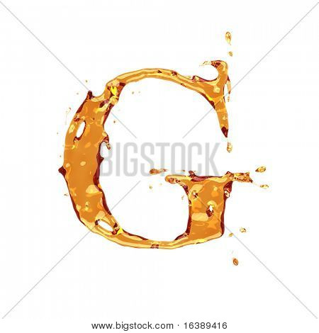 Liquid alcohol alphabet  - letter G - color of brandy , cognac, liquor, cola, beer or tea