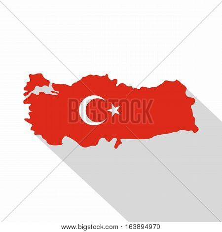 Turkey map in national flag colors icon. Flat illustration of Turkey map in national flag colors vector icon for web isolated on white background