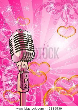 Gold microphone, pink valentines background & hearts