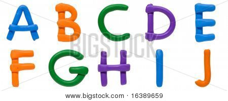 Colour plasticine letters isolated on a white background