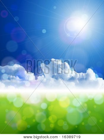 The bright sun, clear skies, fluffy clouds, green grass - ecological idyll. Eps10