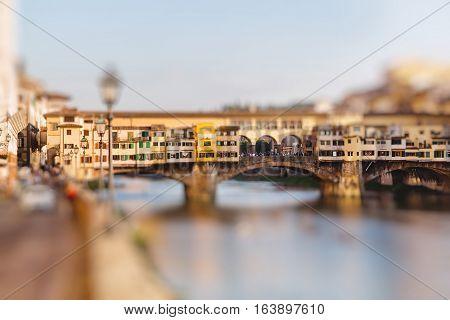 Ponte Vecchio Florence Italy. Miniature tilt shift lens effect.
