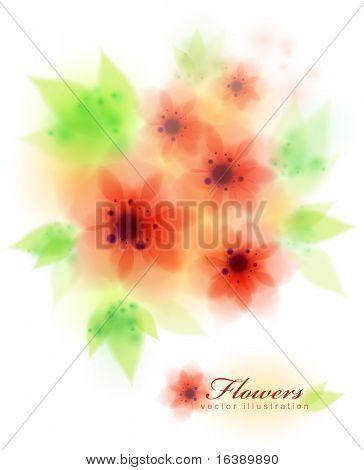 red amaryllis belladonna flowers - fresh vector illustration. Eps10