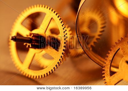 Gold gears old clockwork - macro with a depth of field