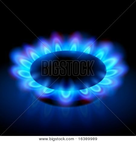 blue flames of a burning natural gas on black background - vector EPS10