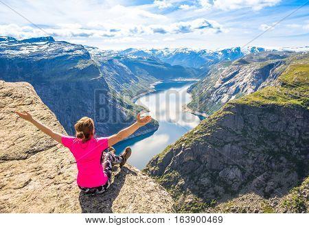 Happy people during beautiful Norway trip in summer