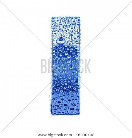 Blue ice alphabet symbol - letter I. Water splashes and drops on glossy metal. Isolated on white