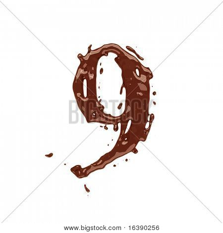 Chocolate dígitos 9 aislado sobre fondo blanco