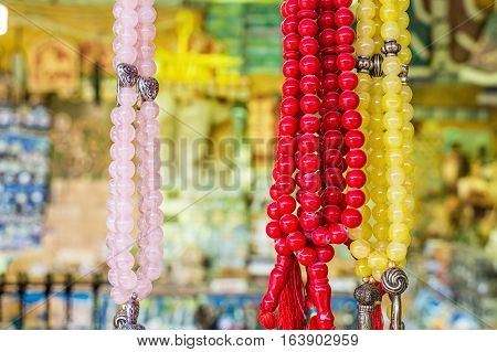 Souvenir beads made of colorful semi-precious stones