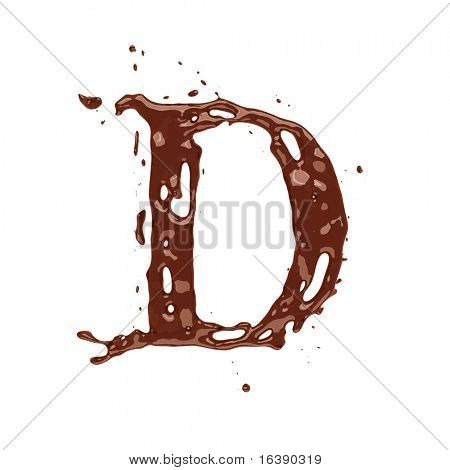 Chocolate letter D isolated on white background