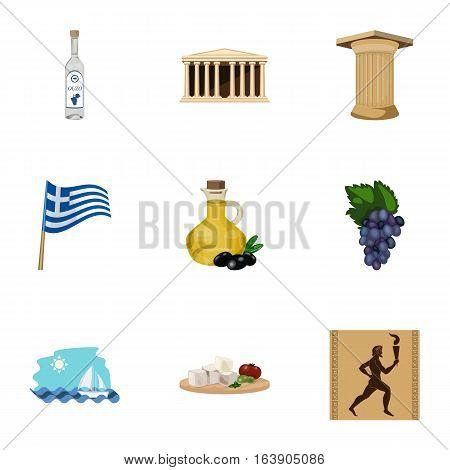 Greece set icons in cartoon design. Big collection of Greece vector symbol stock illustration