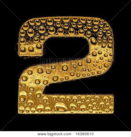 Gold metal three-dimensional alphabet symbol - digit 2. Covered with drops of clear water on glossy metal. Isolated on black
