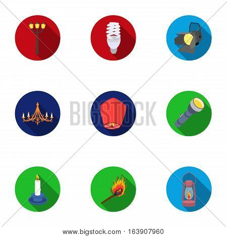 Light source set icons in flat style. Big collection of light source vector symbol stock