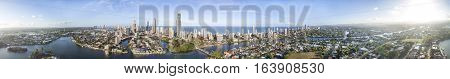 360 degree aerial panorama of Surfers Paradise Gold Coast and waterways at sunset