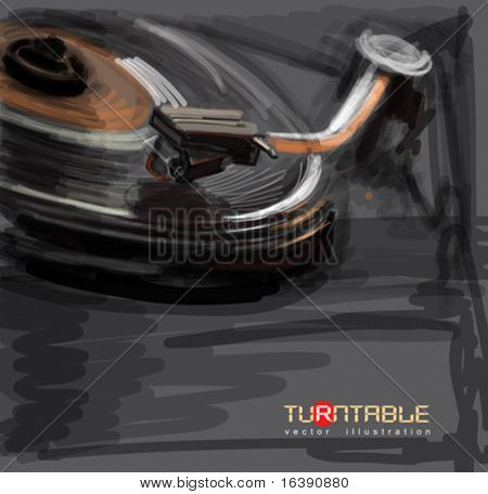 color sketch of an old turntable - vector ilustration / eps10